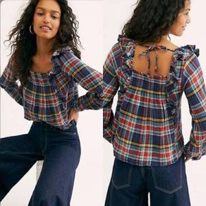 NWT Free People Siena Plaid Pullover Top Size S